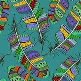 Seamless pattern of tribal bird feathers Stock Image