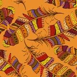 Seamless pattern of tribal bird feathers stock illustration