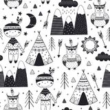 Seamless pattern with tribal boy and owl in Scandinavian style Stock Photo