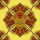 Seamless pattern with tribal mask and aztec geometric latin American ornament. Royalty Free Stock Image