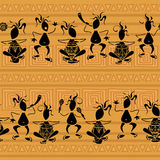Seamless pattern of tribal musicians Stock Photos