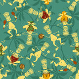 Seamless pattern of tribal musicians Royalty Free Stock Photography
