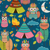 Seamless pattern with tribal owls night Stock Images