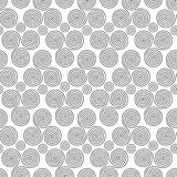 Seamless pattern with triple spiral shapes and circles Royalty Free Stock Image
