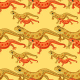 Seamless pattern Triton East American red spotted salamanders  Stock Images