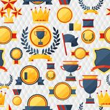 Seamless pattern with trophy and awards. Royalty Free Stock Image