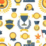 Seamless pattern with trophy and awards. Stock Image