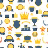 Seamless pattern with trophy and awards. Royalty Free Stock Images