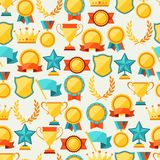 Seamless pattern with trophy and awards Stock Photography