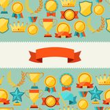 Seamless pattern with trophy and awards Stock Image