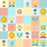Seamless pattern with trophy and awards Stock Photos