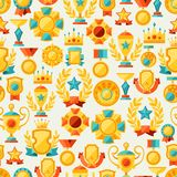 Seamless pattern with trophy and awards in flat Stock Photography