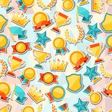 Seamless pattern with trophy and awards stickers Stock Photos
