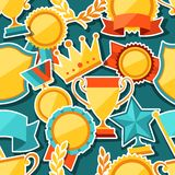 Seamless pattern with trophy and awards stickers Stock Image