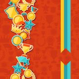 Seamless pattern with trophy and awards stickers Royalty Free Stock Photo