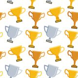 Seamless pattern with trophy on white background stock illustration
