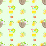 Seamless pattern tropic cocktail bouquet hibiscus Royalty Free Stock Photos