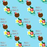 Seamless pattern with tropic coconut cocktail. Stock Photo