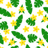 Seamless pattern with tropic leaves and flowers on white background. Royalty Free Stock Photography