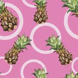 Seamless pattern with tropical Ananas. Element for design of invitations, movie posters, fabrics and other objects. Isolated on white royalty free illustration