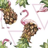 Seamless pattern with tropical Ananas and Flamingo. Element for design of invitations, movie posters, fabrics and other Royalty Free Stock Photography