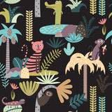 Seamless pattern with tropical animals Stock Photography