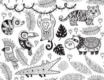 Seamless pattern with tropical animals in monochrome style stock illustration
