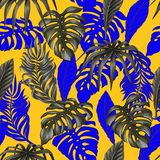 Seamless pattern with tropical banana, palm and monstera leaves for fabric design.  stock images