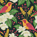 Seamless pattern with tropical birds, flowers,berries and leaves. Exotic flora and fauna. Vintage hand drawn vector illustration in watercolor style Royalty Free Stock Images