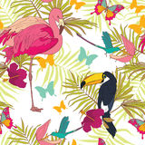 Seamless pattern with tropical birds and flowers, palm leaves and butterflies Royalty Free Stock Images