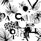 Seamless pattern of Tropical birds, palms, flowers and letters. Stock Photography