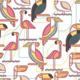 Seamless pattern with tropical birds. Stock Photo