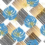 Seamless pattern with tropical blue and golden leaves, stripes stock illustration