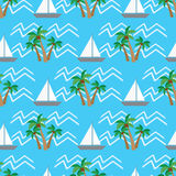 Seamless pattern  tropical coconut palm trees and waves Stock Photography