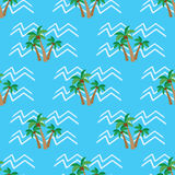 Seamless pattern  tropical coconut palm trees and waves Royalty Free Stock Image