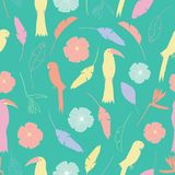 Seamless pattern with tropical colorful birds and flowers in yellow, orange, purple, white, pink with a green color backgro stock illustration