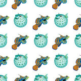 Seamless pattern with tropical fish. And fish ball. Vector illustration royalty free illustration