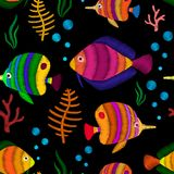 Seamless pattern with tropical fish. Decorative seamless pattern with tropical fish stylized texture of embroidery. Vector pattern for printing on fabric Stock Photos
