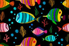 Seamless pattern with tropical fish. Decorative seamless pattern with tropical fish stylized texture of embroidery. Vector pattern for printing on fabric Stock Photography