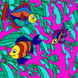 Seamless pattern with tropical fish Royalty Free Stock Photography