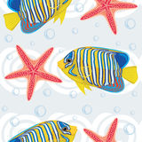 Seamless pattern with tropical fish and sea star Royalty Free Stock Photo
