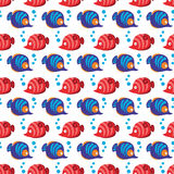 Seamless pattern with tropical fishes and bubbles on white background. Royalty Free Stock Image
