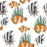Seamless pattern with tropical fishes Stock Photos