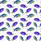Seamless pattern with tropical fishes on white background. stock illustration