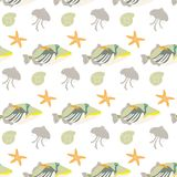 Seamless pattern with tropical fishes on white background. Vector illustration Royalty Free Stock Image