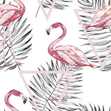 Seamless pattern with tropical Flamingo and leaves. Element for design of invitations, movie posters, fabrics and other. Seamless pattern with tropical Flamingo Royalty Free Stock Images