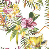 Seamless pattern with tropical Flowers and Flamingo. Element for design of invitations, movie posters, fabrics and other Royalty Free Stock Image