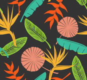 Seamless pattern with tropical flowers heliconia, bird of paradise, fan, banana palm leaf Stock Image