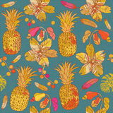 Seamless pattern with tropical flowers. Royalty Free Stock Images