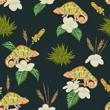 Seamless pattern with tropical flowers, leaves and chameleon. Exotic botanical background. Vector illustration in watercolor style royalty free illustration